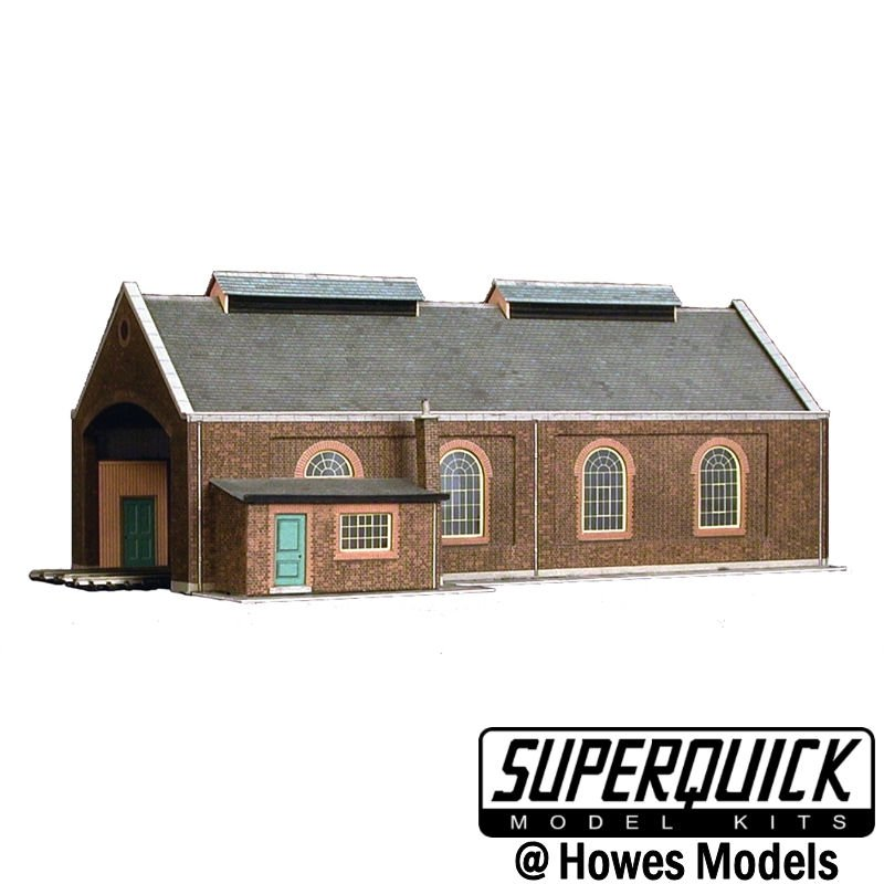 Superquick A5 OO Gauge Two Road Locomotive//Engine Shed Card Kit